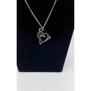 G-Clef and Heart in One Necklace Sliver